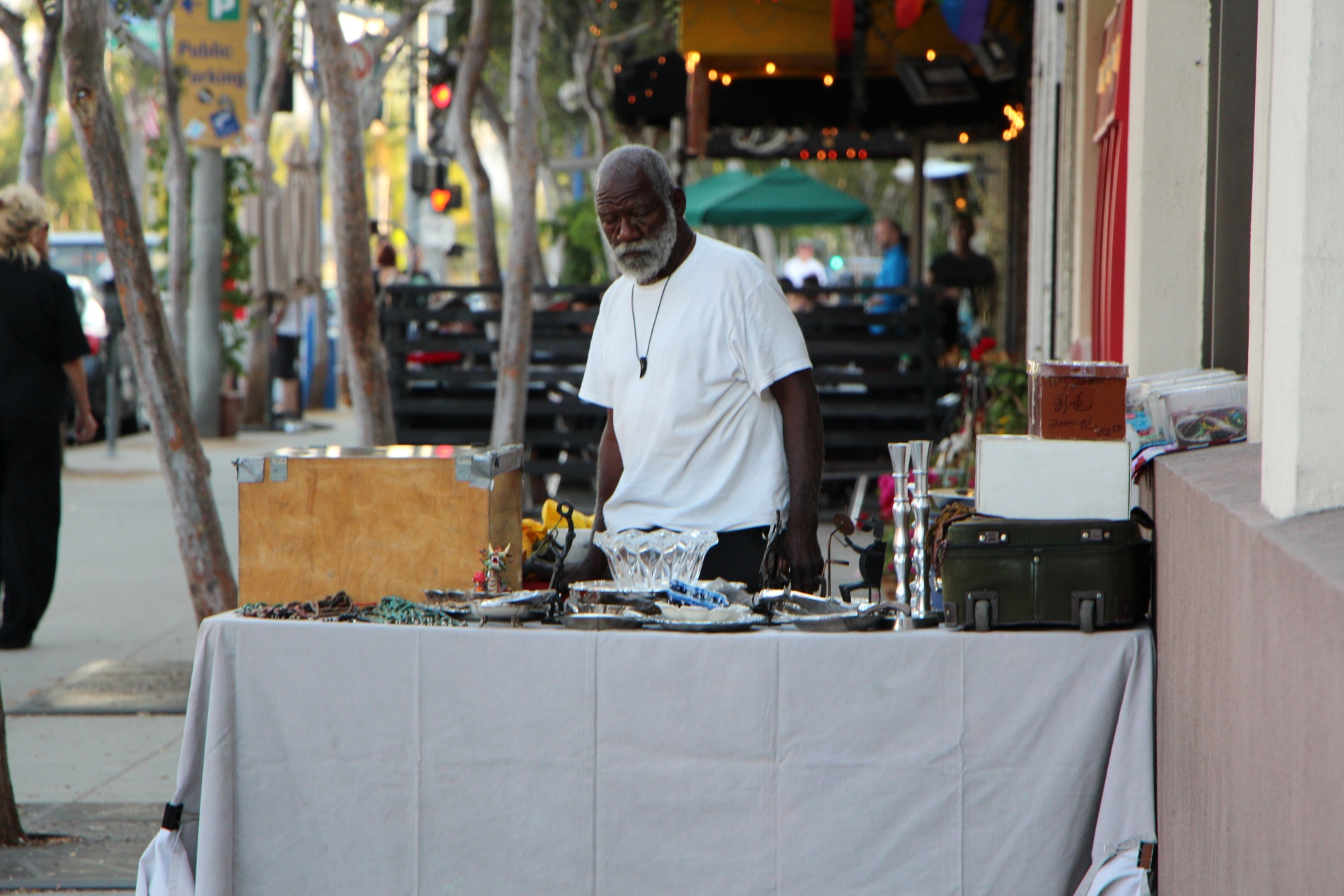 Street merchant on Santa Monica Boulevard, West Hollywood, California